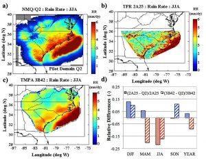 Average Summer (JJA) rainfall derived from: a) NMQ/Q2 (1km), b) TPR 2A25 (5km), and c) TMPA 3B42 (25km). d) Seasonal differences between TPR 2A25 and NMQ/Q2 and TMPA 3B42 and NMQ/Q2.
