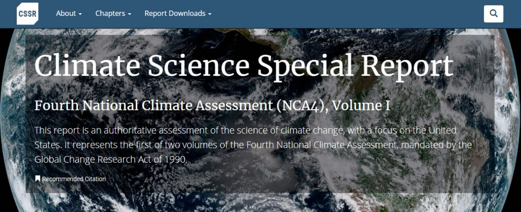 Screenshot of the top banner of the Climate Science Special Report website.