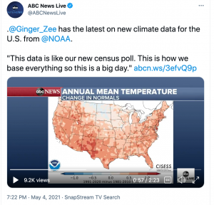 ABC News tweet with video clip describing the new normals and an image of the temperature change map developed by Jared Rennie.