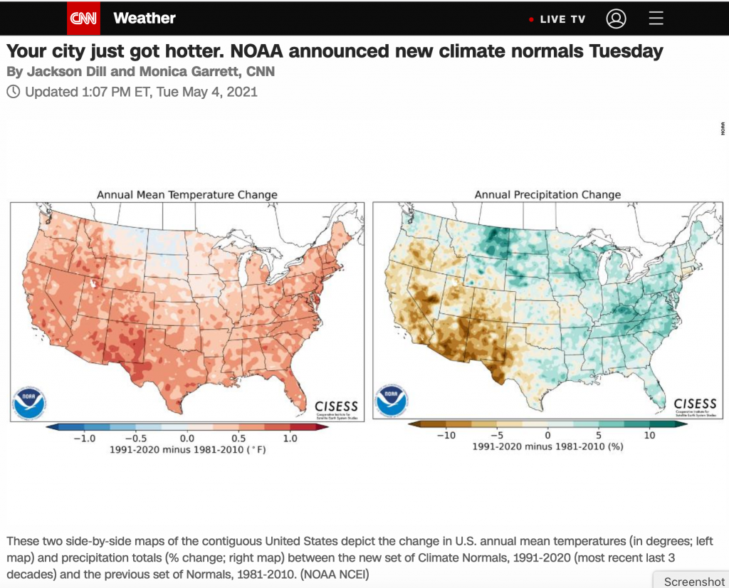 Screenshot of a second CNN story on the new climate normals