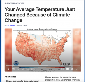 Screenshot of Weather Channel story on the new climate normals